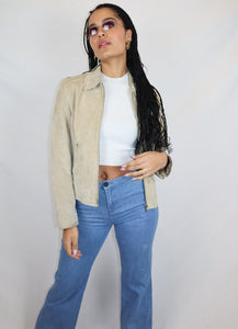 Beige suede zip jacket