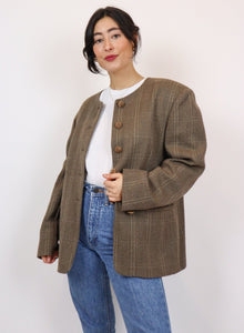 Brown wool checked jacket