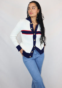 White, blue and red stripy cardigan
