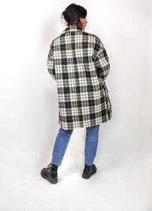 Black and white checked coat