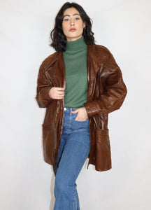 Brown 80's style leather jacket