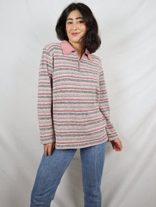 Pink stripy polo zip jumper
