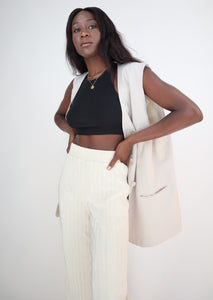 Light beige blazer vest