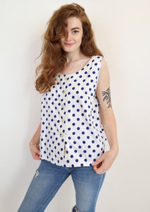 Polka dot button down top