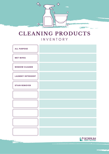 Cleaning products inventory template