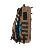 Side view including MOLLE ladder and concealed carry compartment on the Red Stripe™ Lycos Shield Backpack - Waxed Cotton