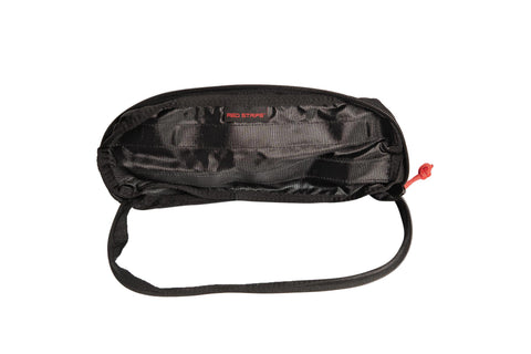 Front of the Red Stripe™ Accessory Window Pouch - open.