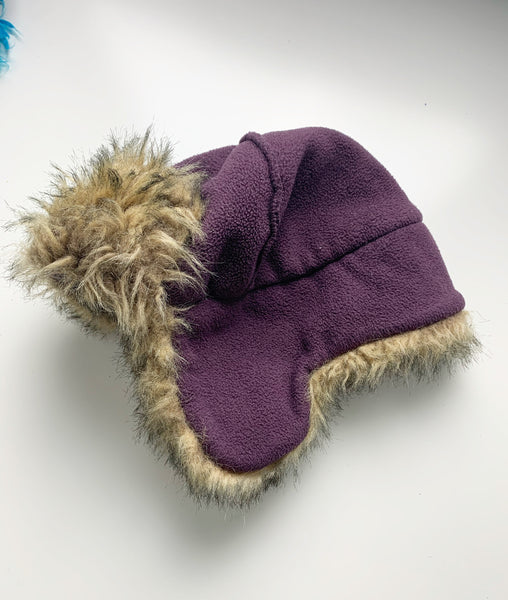 Purple aviator hat 0-6m