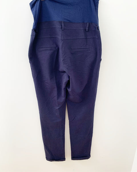 "H.appymum stretchy cotton ""over the bump"" blue pants-  size Medium"