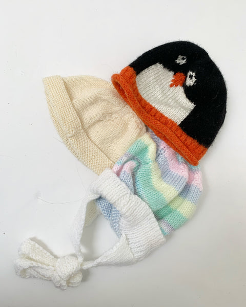 3 pack hand knit hats 0-12m