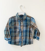 Brown and blue checkered shirt 2y