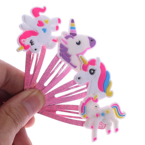 4 Colors Glitter Unicorn Kids Hair Clips