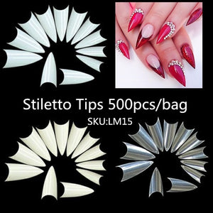 Long and Short Stiletto Coffin Nails