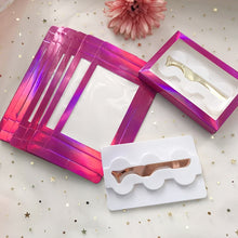 Load image into Gallery viewer, 3D Mink Eyelashes with Tweezers Holographic 3 Pairs Lashes Box