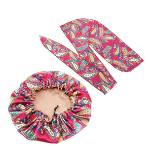 Custom designer print silky satin durag Match Silk Bonnet 2pc