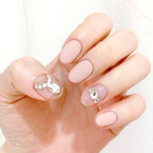 Load image into Gallery viewer, 24Pcs/box Full Cover Short Round Press On Nails Pink