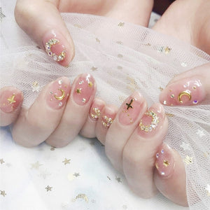 24Pcs/box Full Cover Short Round Press On Nails Pink