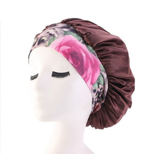 Women Bonnet Cap Salon Shower Sleep Hair Head Cover Wide Band Elastic Casual Beanies Solid Color Hat