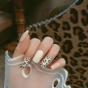24pcs/box Frosted Leopard Pattern Mid-length Matte