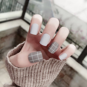 24Pcs Gray White Short Matte