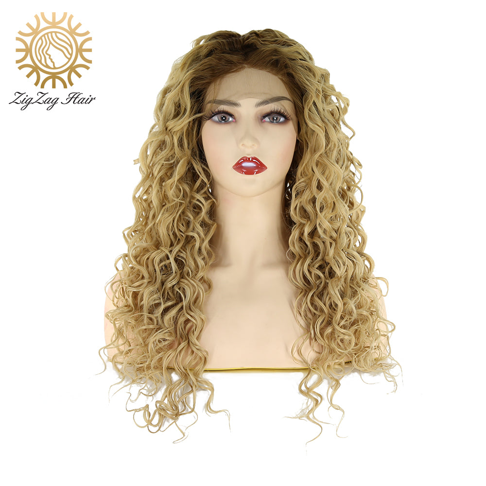 ZigZag Kinky Curly Wigs Synthetic Lace Front Wig