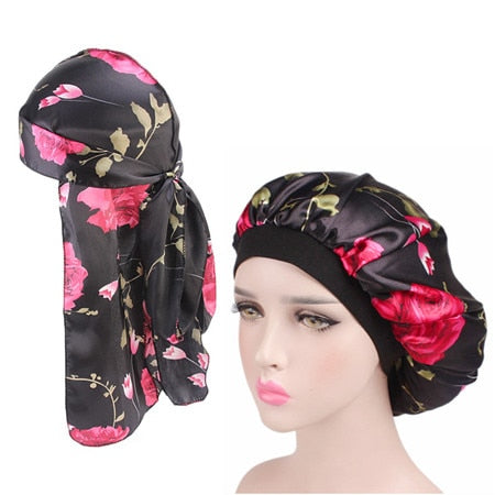 Women Silky Durag and Wide Band Satin Bonnet 2pcs/sets