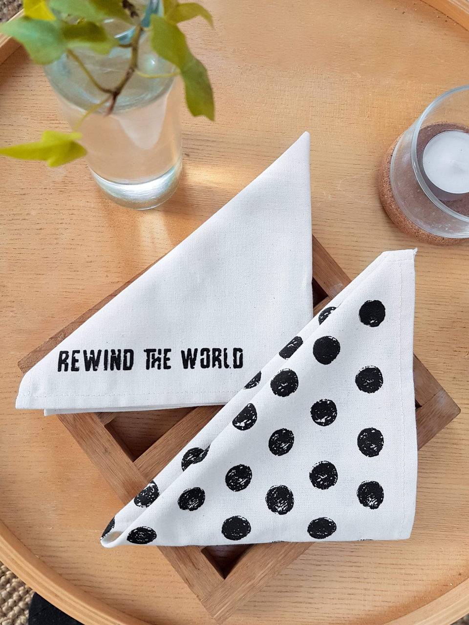 Rewinder Eco Napkins Eco-Napkins Pack x4 Black Dots Eco Zero Waste