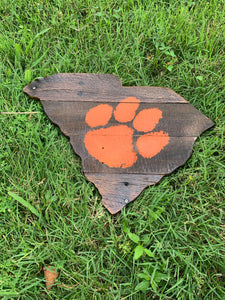 Dark Rustic Orange Clemson Paw South Carolina