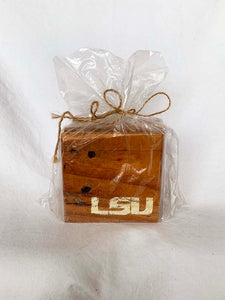 Natural LSU Coasters- Set of 4
