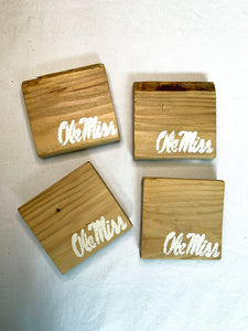 Natural Ole Miss Coasters- Set of 4
