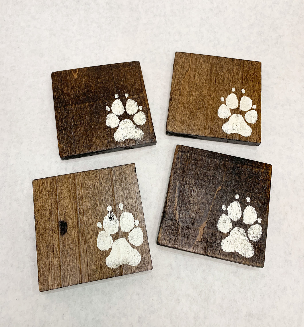 Set of 4 Dark Puppy Paws Coasters
