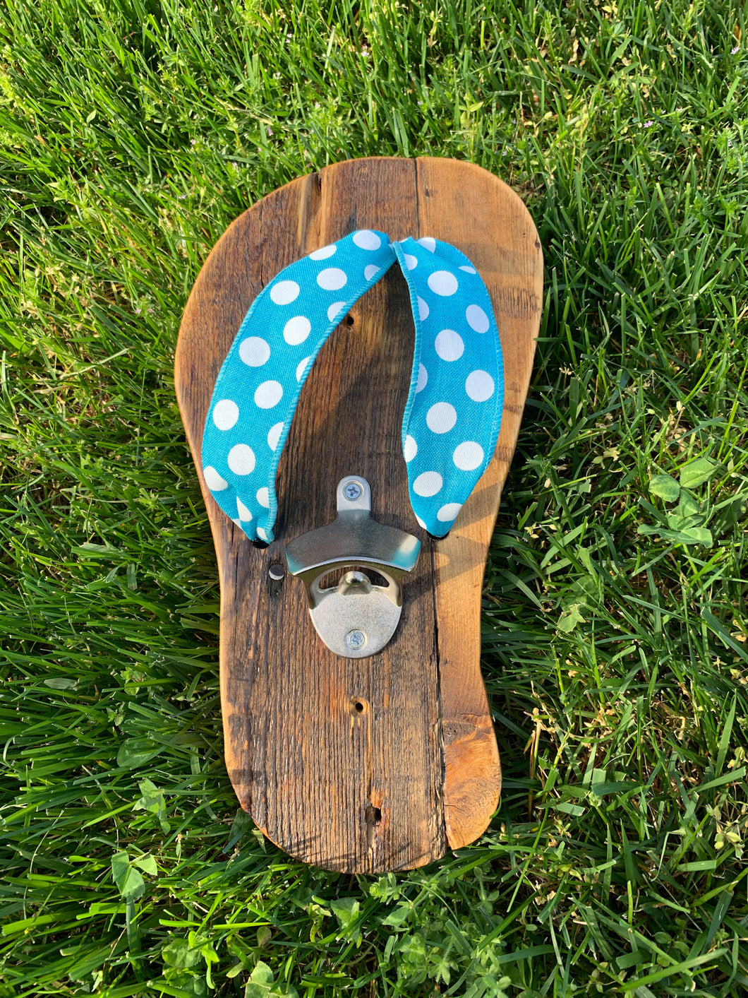 Outdoor Natural Flip Flop Bottle Opener with Aqua Accent