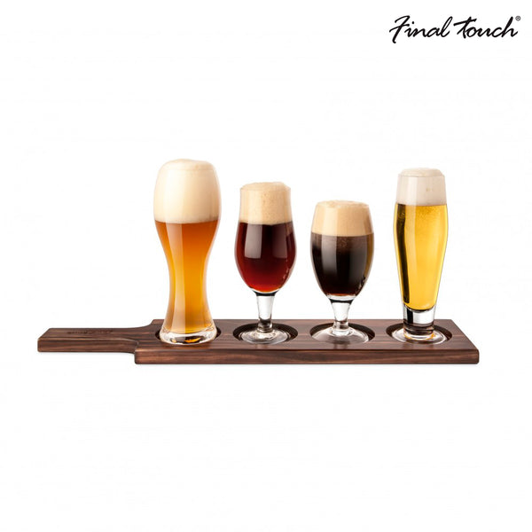 SET CERVECERO CON BASE MADERA