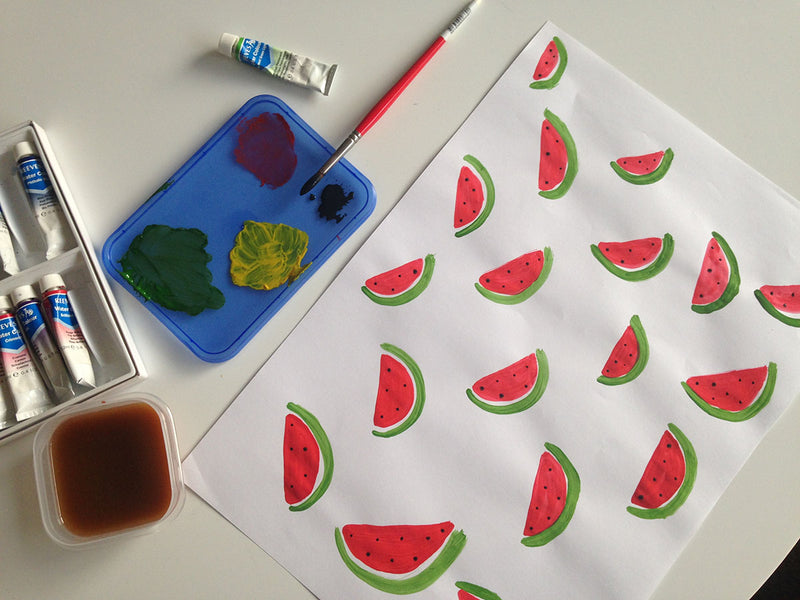 DIY Watercolour Fruit Wrapping Paper