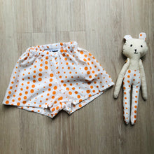 Load image into Gallery viewer, Me and Mini - Matching Teddy and Short Set Orange Spot 0 -3 Months