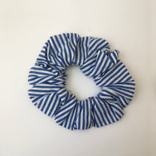 Load image into Gallery viewer, Blue and White Stripe Cotton Scrunchie