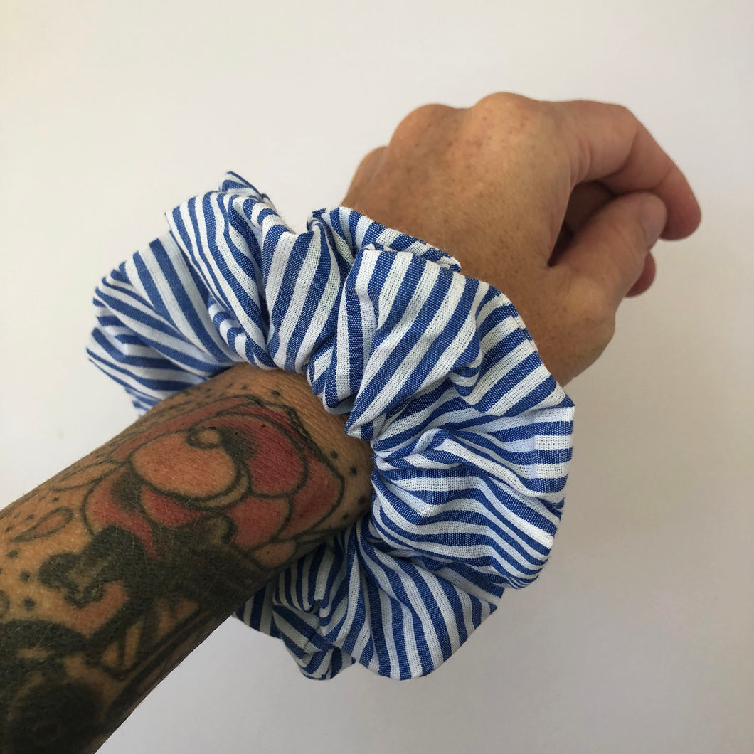 Blue and White Stripe Cotton Scrunchie