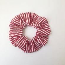 Load image into Gallery viewer, Red and White Stripe Cotton Scrunchie with Tie