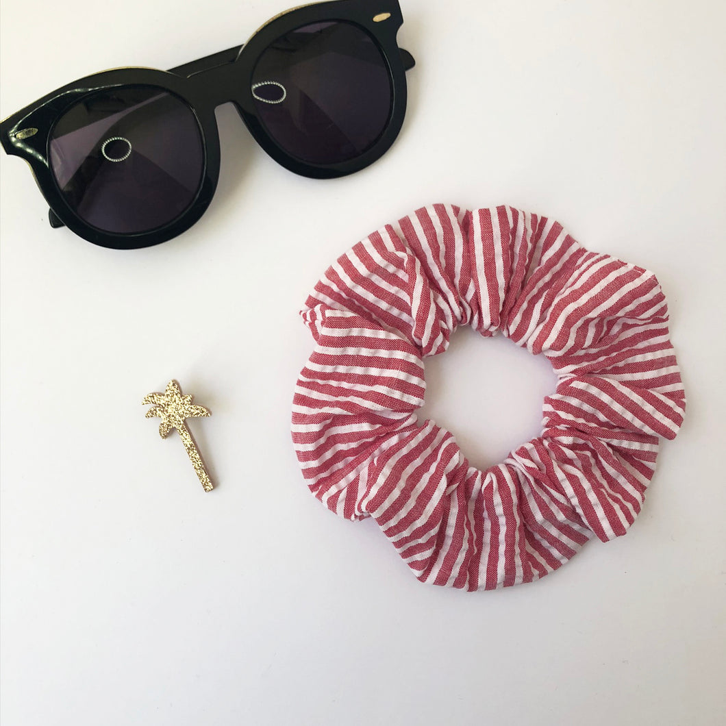 Red and White Stripe Cotton Scrunchie
