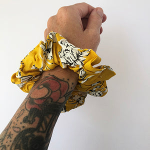 Yellow Floral Scrunchie
