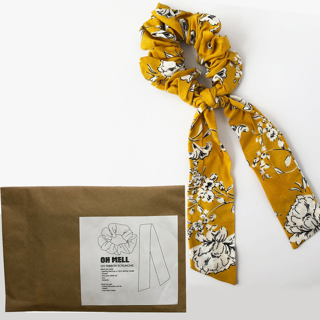 DIY Yellow Floral Print Scrunchie with Tie Kit