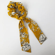 Load image into Gallery viewer, Yellow Floral Scrunchie with Tie