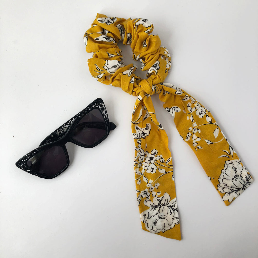 Yellow Floral Scrunchie with Tie