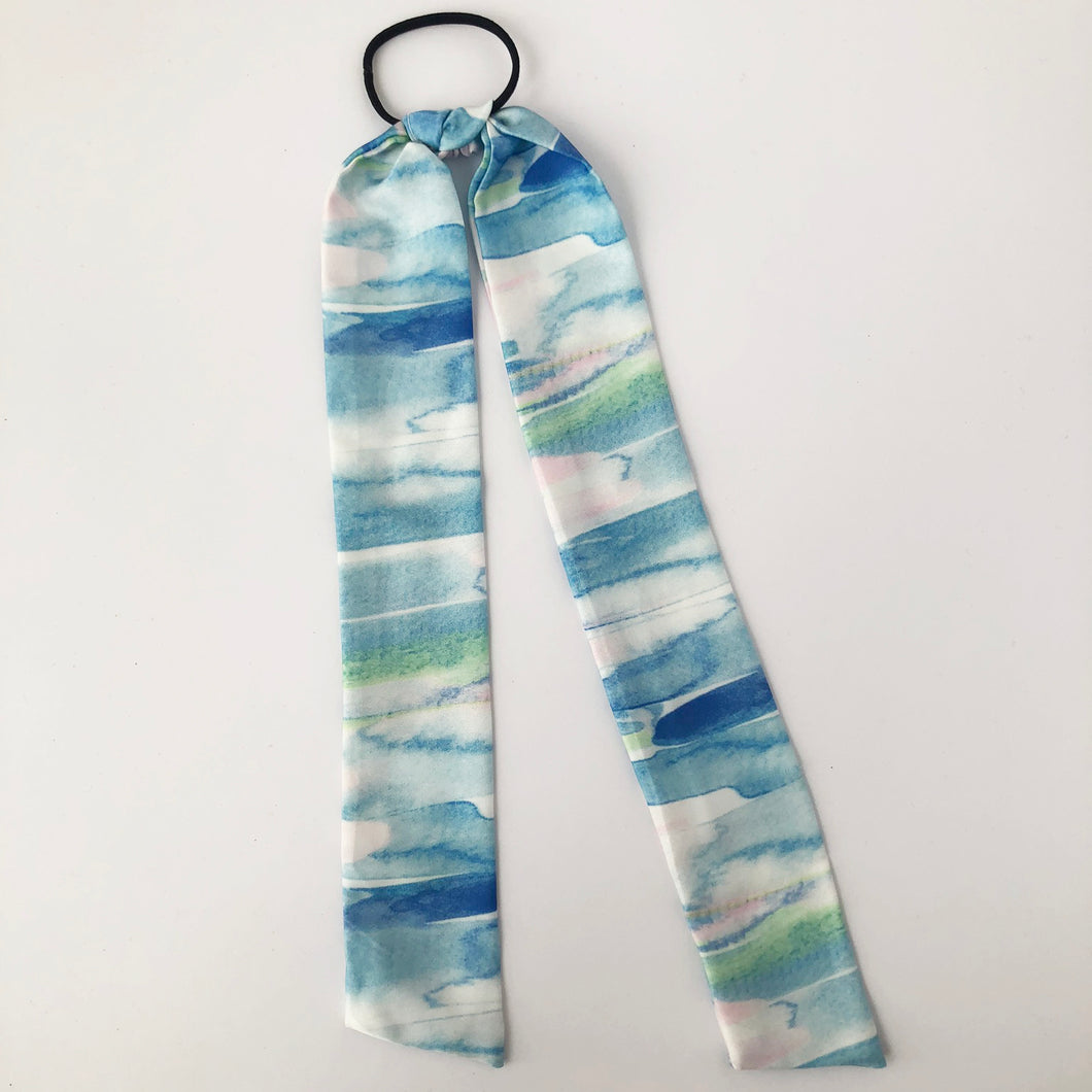 Watercolour Print Silky Hair Tie