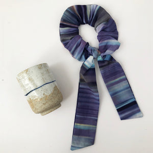 Blue Ombre Cotton Silk Scrunchie with Tie