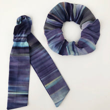 Load image into Gallery viewer, Blue Ombre Cotton Silk Scrunchie with Tie