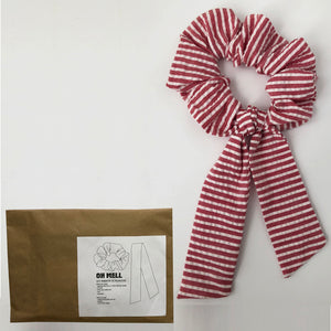 Red and White Stripe Scrunchie with Tie Kit