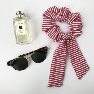 Red and White Stripe Cotton Scrunchie with Tie