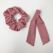 Load image into Gallery viewer, Red and White Stripe Scrunchie with Tie Kit