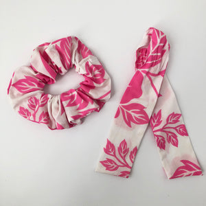 Tropical Print Cotton Scrunchie with Tie